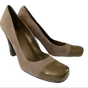Luca Ferri heels suede and patent leather nosing